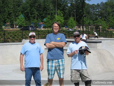 Tony Hall of Brook Run Skatepark, Woody's Halfpipe owner John Karg and Raymondo.