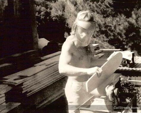 Tom Sims shaping skateboards on Mountain Drive in Montecito 1975