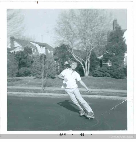 Tom Sims skating Greenmount Rd fall 1964