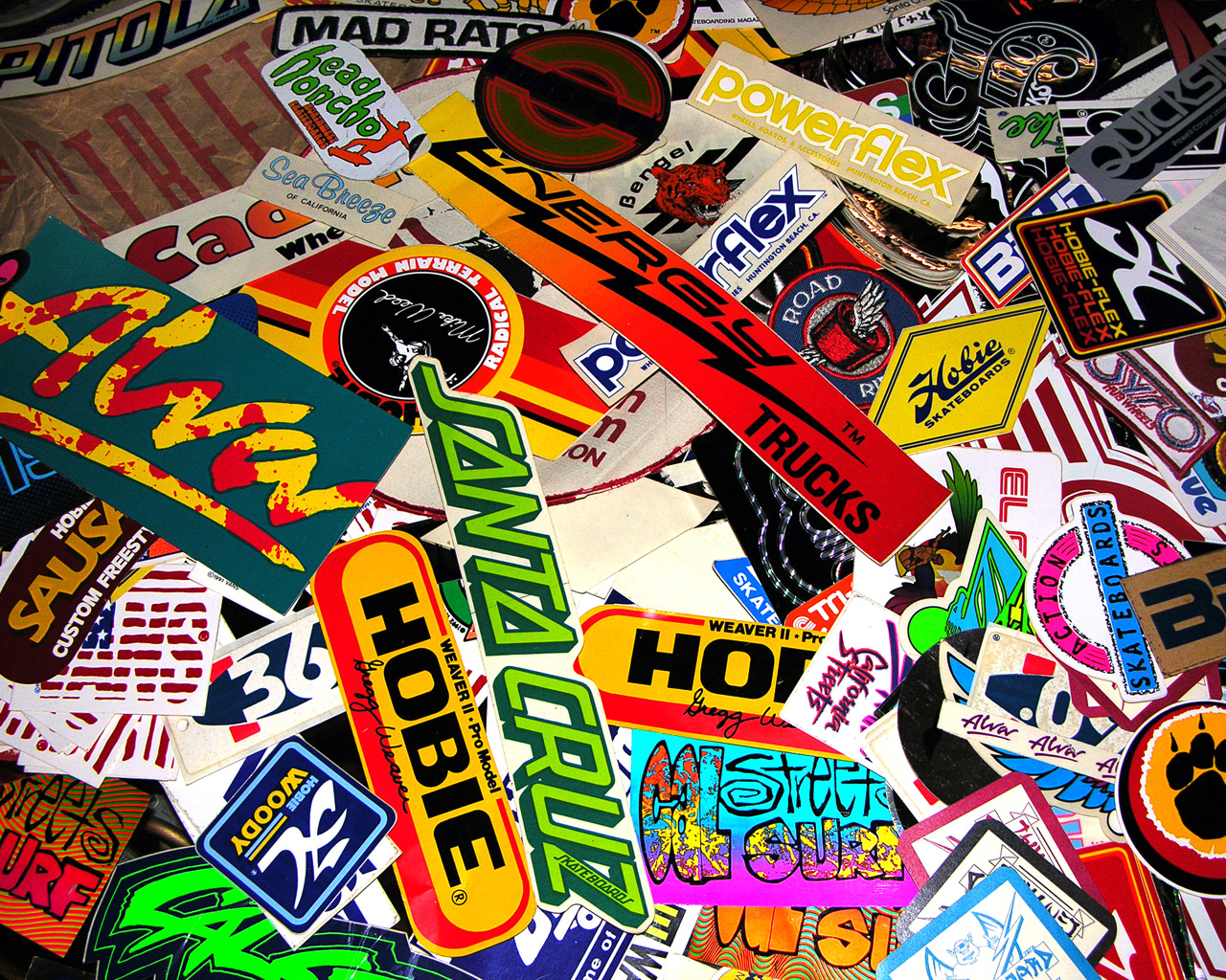 Big Time Old School A Sample of 70's and 80's Vintage Skateboard stickers.