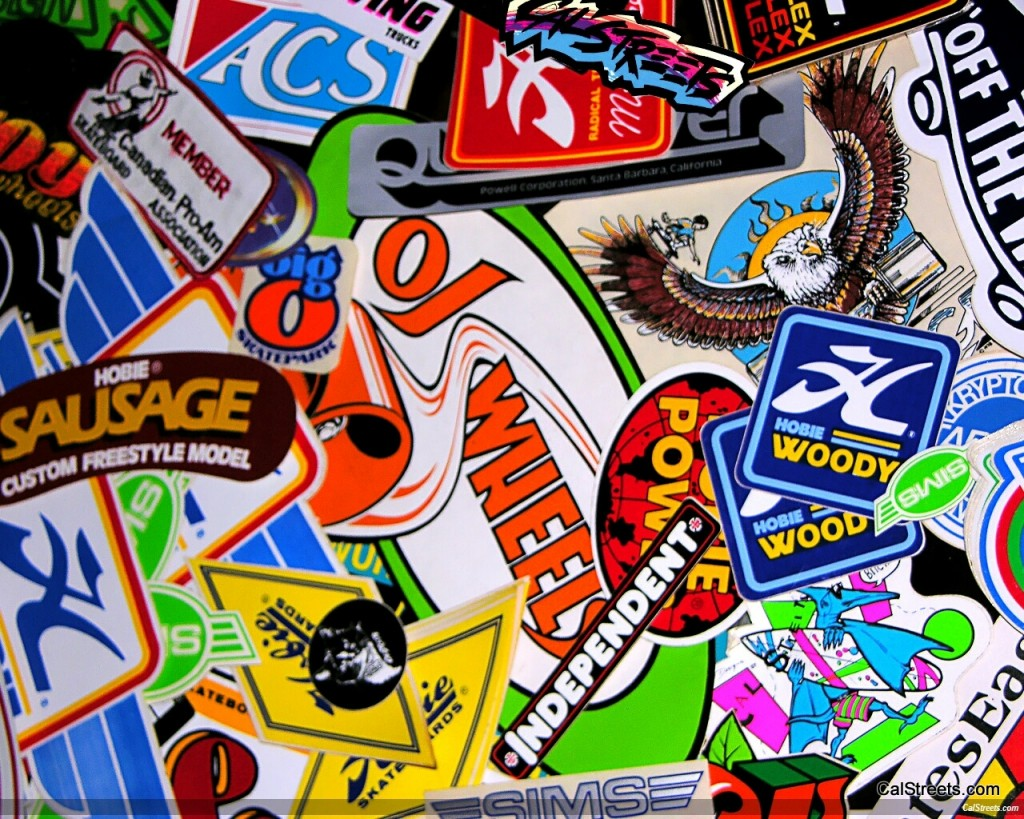 Skate stickers wallpaper the image kid for Wallpaper decals