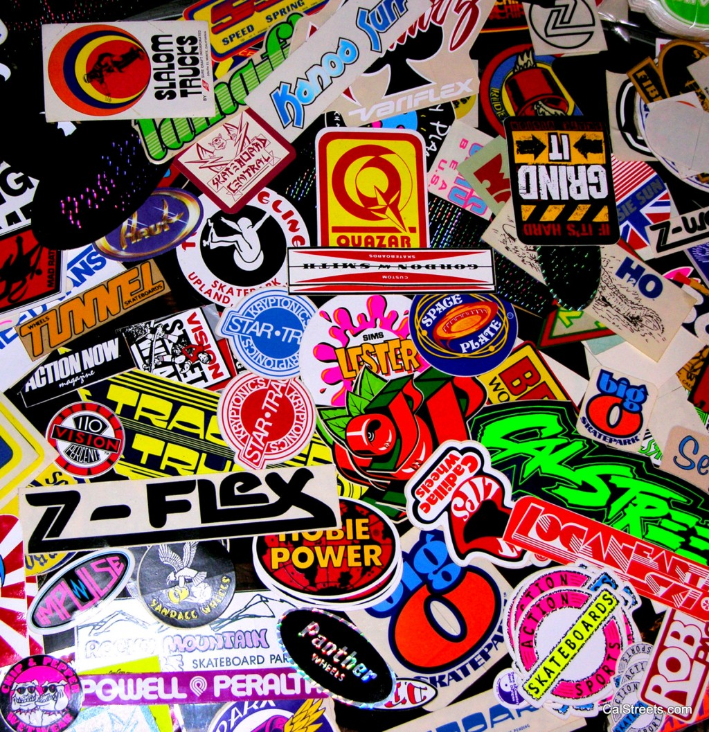 Skateboard Live Wallpaper: CalStreets Vintage Sticker Collection Displayed At